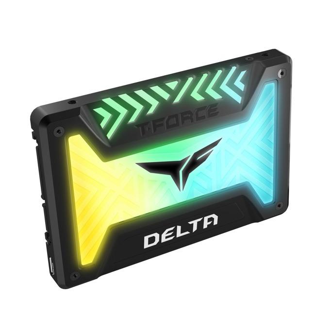 "Памет SSD 250GB Team Group DELTA RGB, SATA 6Gb/s, 2.5"" (6.35 cm), скорост на четене 560MB/s, скорост на запис 500MB/s, RGB подсветка, черен image"