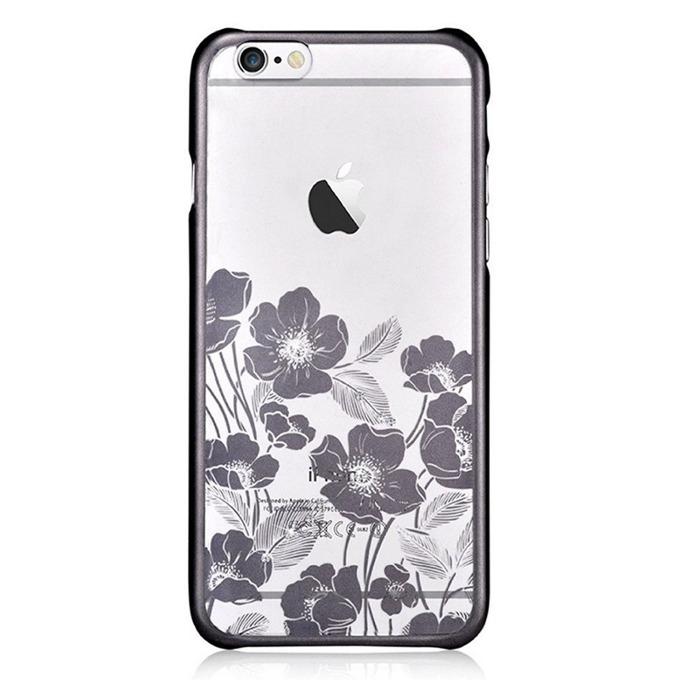 "Калъф за Apple iPhone 6/6S, страничен протектор с гръб, поликарбонат, Devia Rococo Case, с кристали ""Сваровски"", черен/прозрачен image"