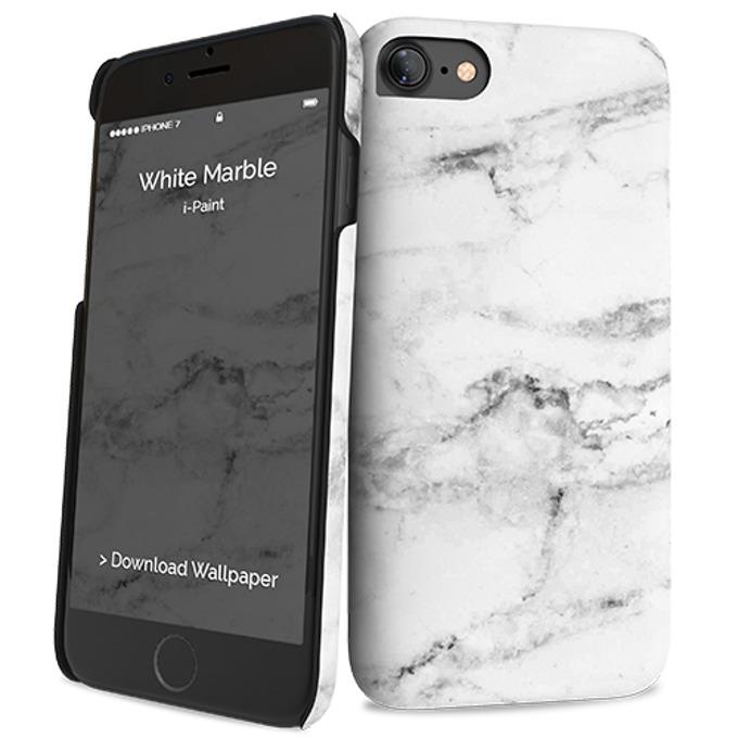 Калъф за Apple iPhone 8, поликарбонатов, iPaint White Marble HC 131013, бял image