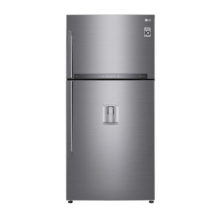 Хладилник с фризер LG GTF916PZPZD, клас A++, 592 л. общ обем, 330 kWh/годишно, диспенсър, свободностоящ, LED дисплей, Total No Frost, инокс image