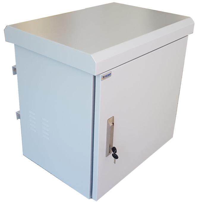 """Комуникационен шкаф Mirsan MR.IP66DR60409U.03, 19"""", 9U, 400mm, двойни стени, с 2 вентилатора, бял, Outdoor image"""
