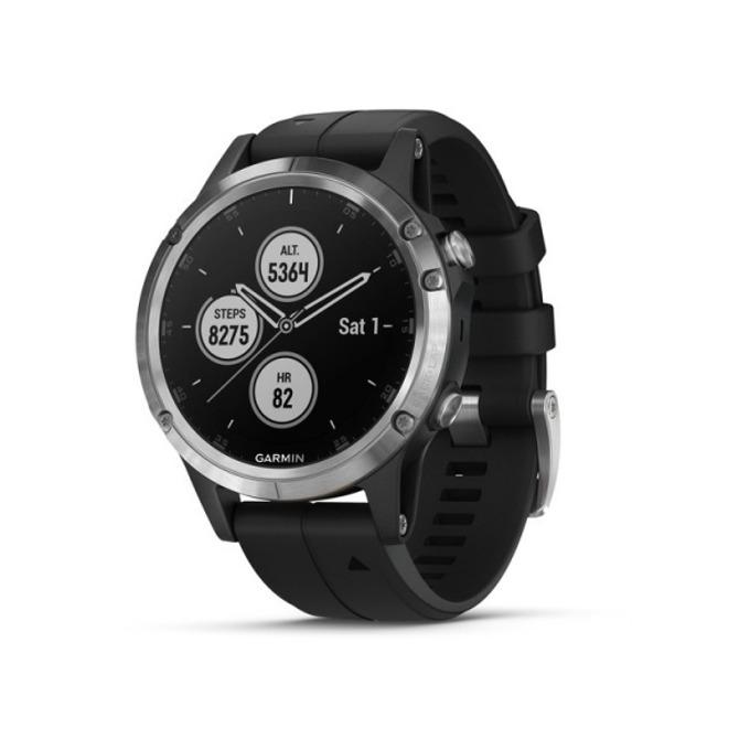 "Смарт часовник Garmin fēnix 5 Plus, 1.2"" (3.4 cm) LED дисплей, Bluetooth, Wi-Fi, GPS, водоустойчив, карта на Европа, силоконова каишка, черен  image"