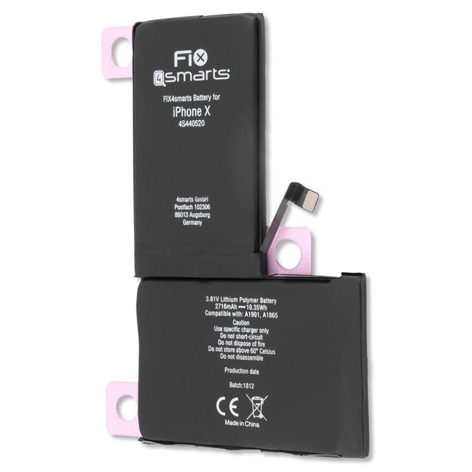 Батерия (заместител) FIX4smarts, за iPhone X, 2716mAh 3.82V image