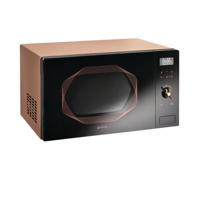 Микровълнова фурна Gorenje MO25INB, с грил, механично управление, 900 W, 25 л. обем, 9 степени на мощност, черна/кафява image