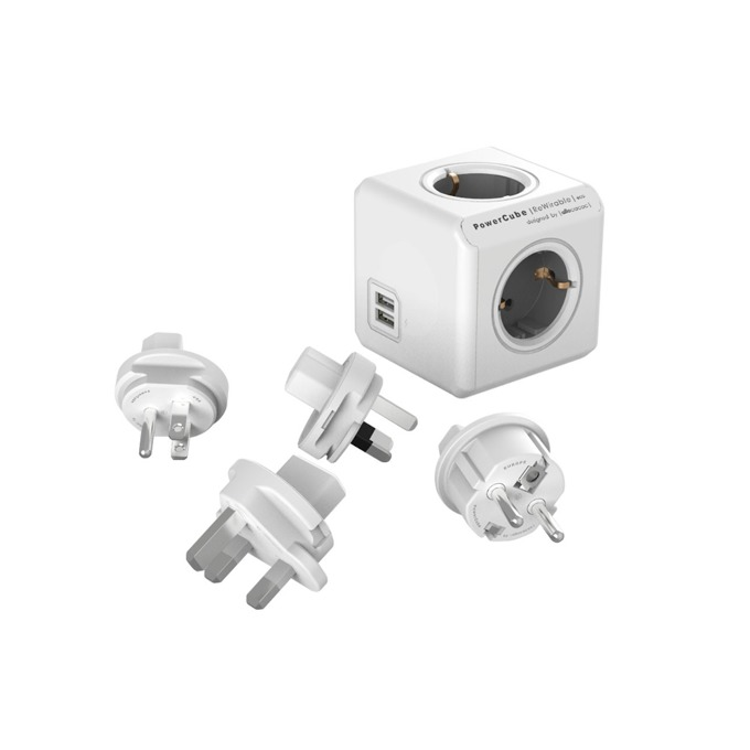 Разклонител Allocacoc Power Cube 1810GY Travel Kit, 4 гнезда, 2x USB, приставки за др. държави, защита от деца, бял/сив image