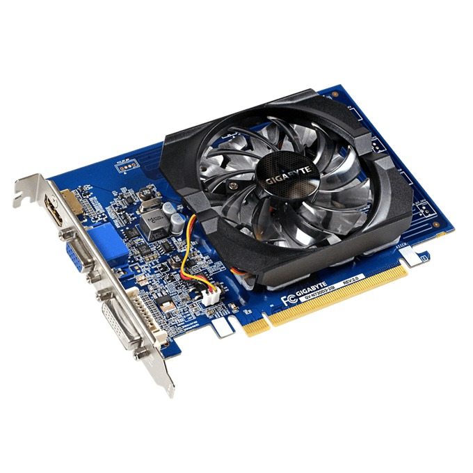 Видео карта GF GT 730, 2GB, Gigabyte GV-N730D3-2GI (rev. 2.0), PCI-E 2.0, DDR3, 64 bit, HDMI, DVI image