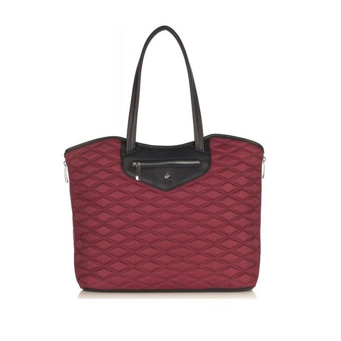 "Чанта за лаптоп Knomo Little Portland, East/West Zip Tote, 13.3""(33.8 cm), кожена, чери image"