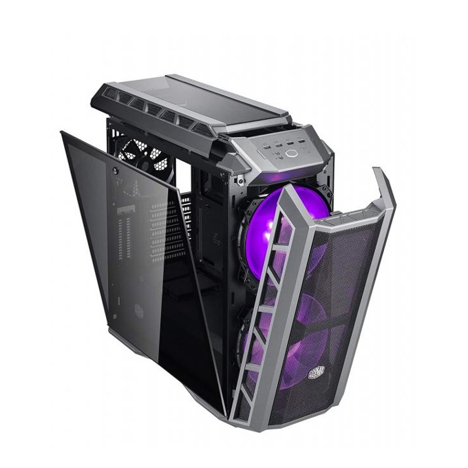 Кутия CoolerMaster MasterCase H500P, Mini-ITX, Micro-ATX, ATX, E-ATX, 2x USB 3.0/ 2x USB 2.0, 2x 200 mm вентилатор + 1x 140 mm вентилатор, прозорец, сива  image
