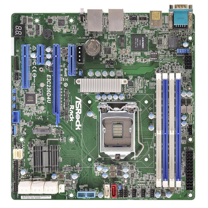 Дънна платка за сървър ASRock Rack E3C236D4U, LGA1151, поддържа DDR4 ECC UDIMM, 2x LAN1000, 8x SATA3 6.0Gb/s(RAID 0/1/5/10), 4x USB 3.0, mATX image