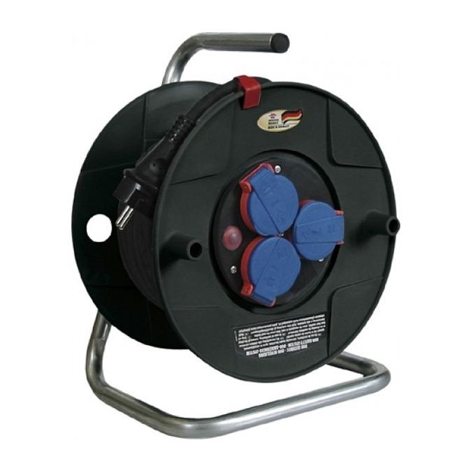 """Разклонител Brennenstuhl Gar2420, 3 гнезда, тип """"макара"""", индикатор за прегряване или претоварване, 25 m, черен image"""