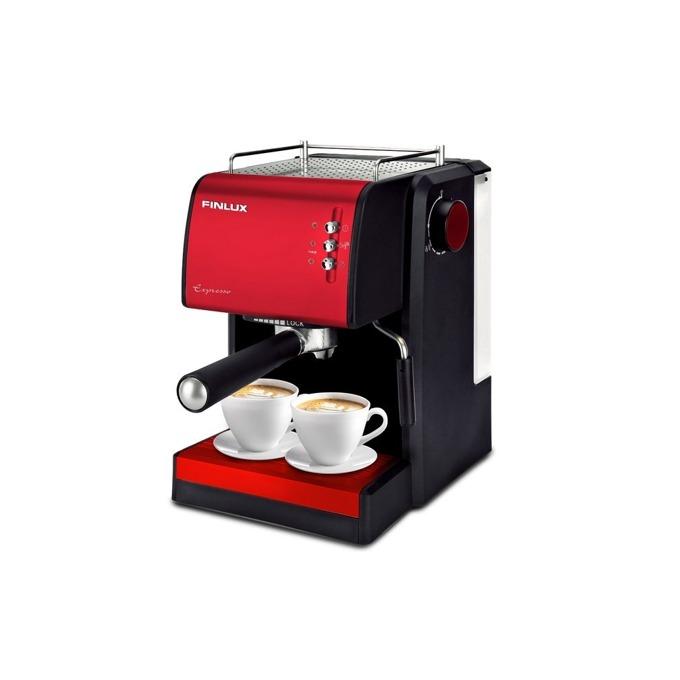 """Ръчна еспресо кафемашина Finlux FEM-1691 IMPRESSION RED, 15 bar, 1.5л резервоар, филтър за каймак, функция """"капучино"""", 1100W, червена-черна image"""