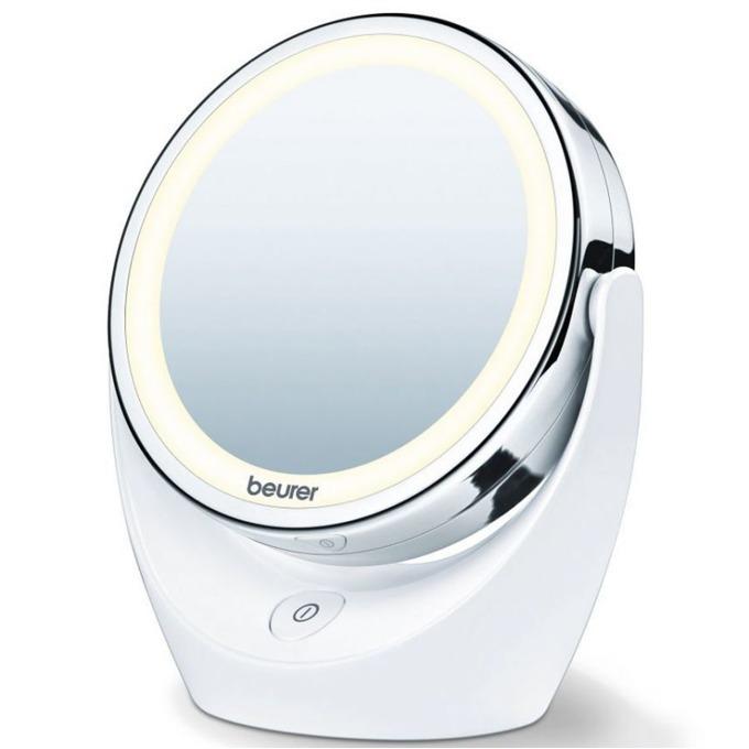 Козметично огледало Beurer BS49, 2 огледала (нормално и с 5 степенно увеличение), 12 LED диода, диаметър 11см, бяло image