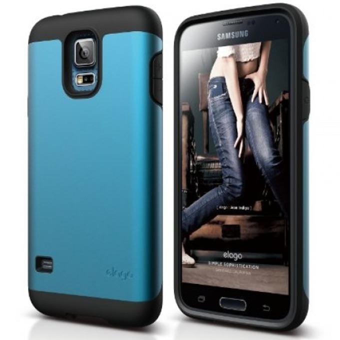 Удароустойчив протектор Elago Duro Case за Samsung Galaxy S5 SM-G900, син image