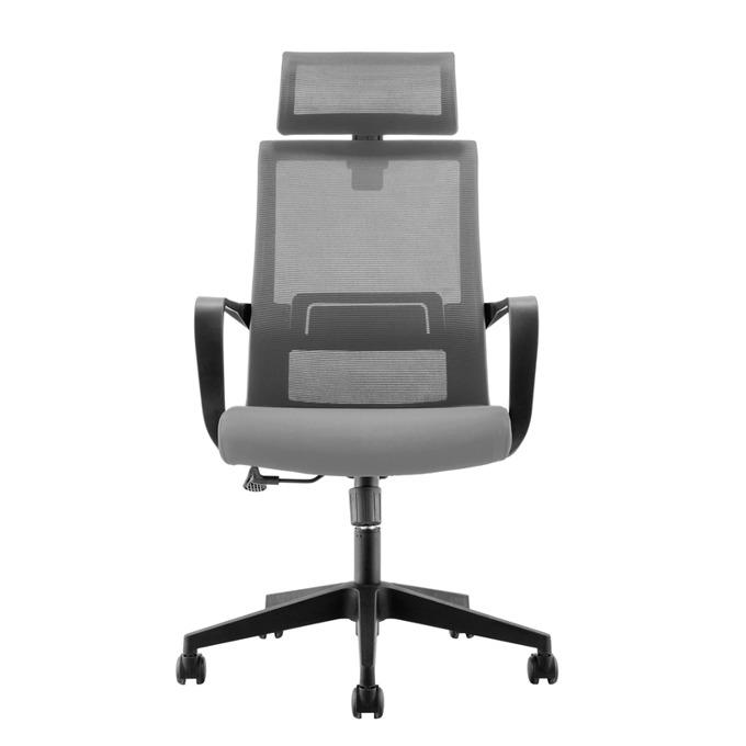 Директорски стол RFG Smart HB, дамаска и меш, тъмно сива седалка, сива облегалка image