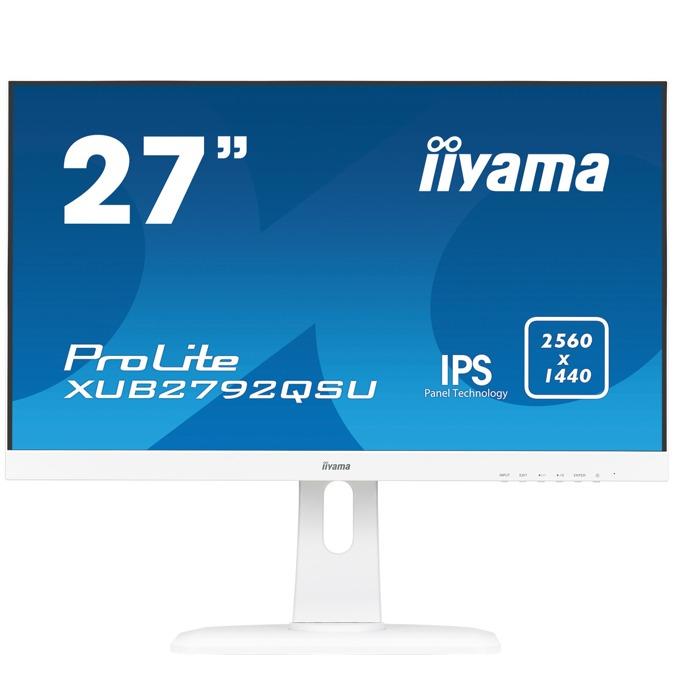 "Монитор Iiyama Prolite XUB2792QSU-W1, 27""(68.58 cm) IPS панел, QHD, 5ms, 2000000:1, 350 cd/㎡, HDMI, Display Port, DVI image"