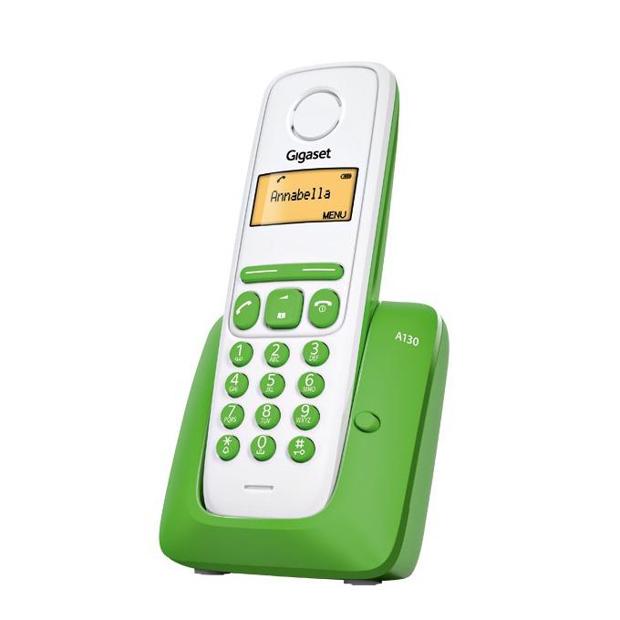 Безжичен телефон Gigaset A130,течнокристален черно-бял дисплей, зелено image