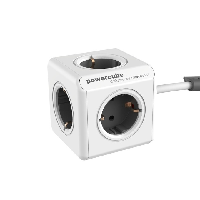 Разклонител Allocacoc Power Cube 1300GY, 5 гнезда, лепенка, защита от деца, бял/сив, 1.5 м кабел image