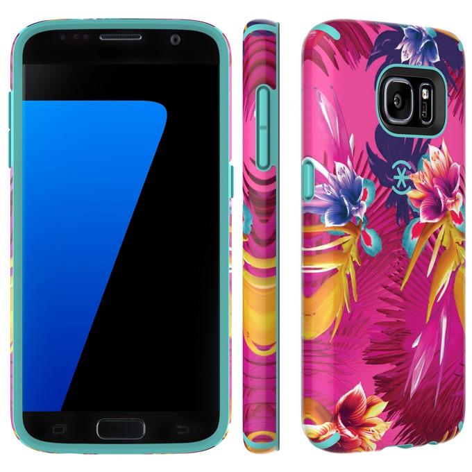 Страничен протектор с гръб Speck CandyShell Inked за Samsung Galaxy S7, син с щампа image