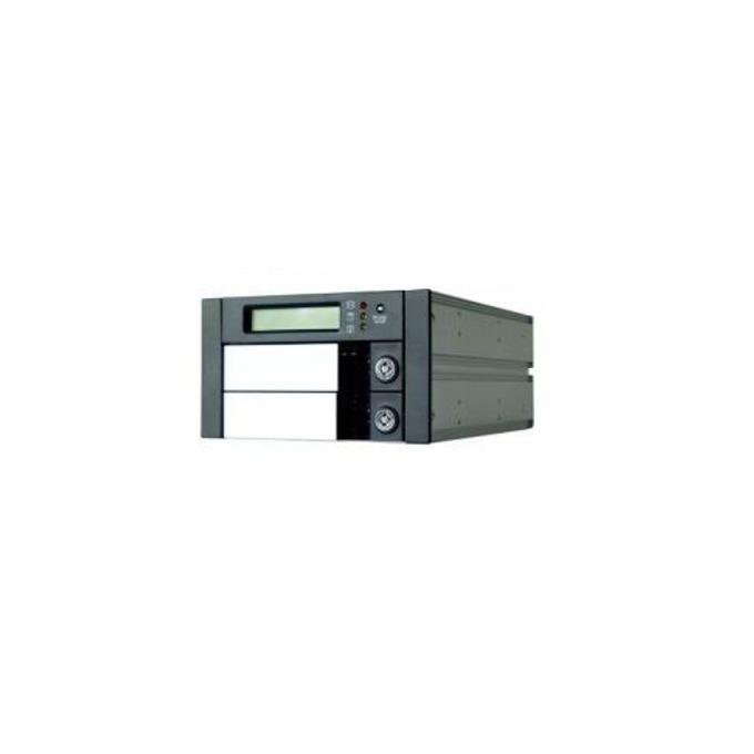 """Кутия RaidSonic SR2600-2S-S2B, за 2x 3.5""""(8.89 cm) SATA диска в RAID 0 и 1, LCD дисплей за мониторинг, SATA конектори, алуминиев корпус, черна image"""