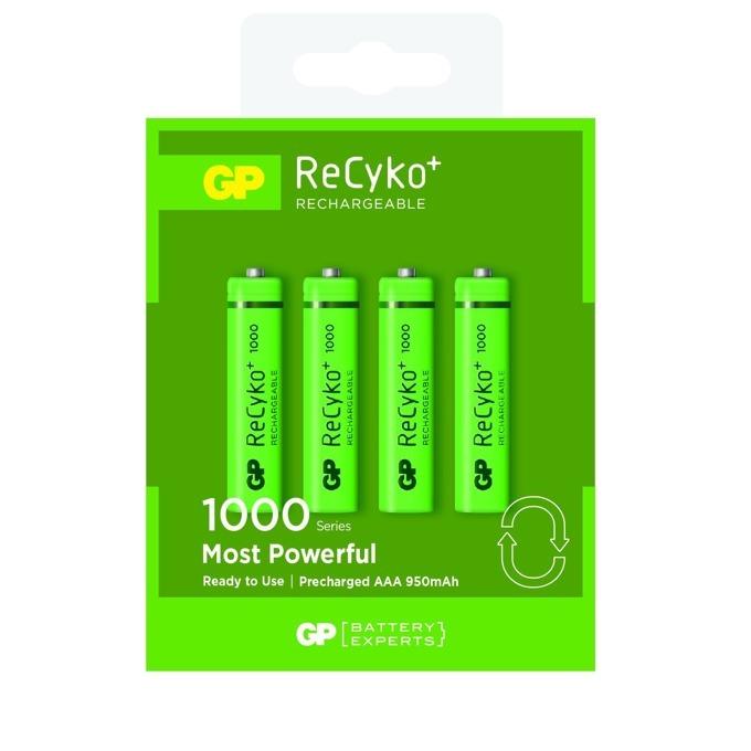 Акумулаторна батерия GP ReCyko+ 1000 series, AAA, R03, 1.2V, 950 mAh, NiMH, 4 бр. в опаковка  image