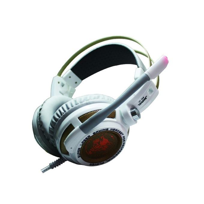 Слушалки Jedel GH-01, микрофон, гейминг, LED подсветка, 50мм говорители, USB, бели image