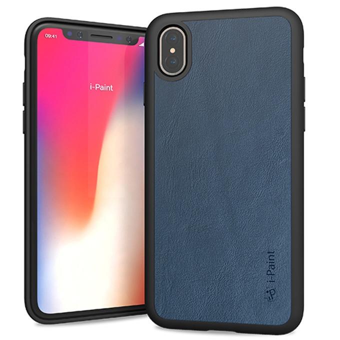 Калъф за Apple iPhone XS, естествена кожа, iPaint Black Leather 880502, тъмносин image