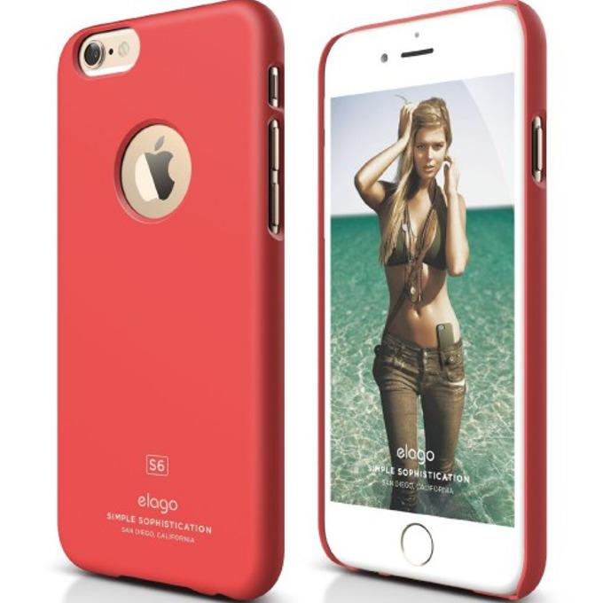 Поликарбонатов протектор Elago S6 Slim Fit Case + HD Clear Film за iPhone 6, червен, HD покритие image