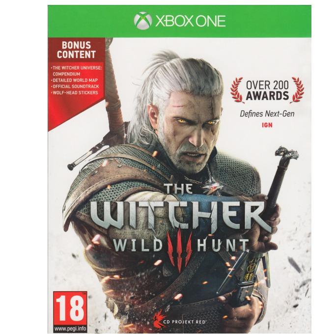 """The Witcher 3: Wild Hunt Day 1 Edition, Включва : Компактдиск с оригиналния саундтрак, Компендиум """"Witcher Universe – the Compendium"""", Красива, детайлна карта на света в играта, 2 стикера; за XBOX ONE image"""