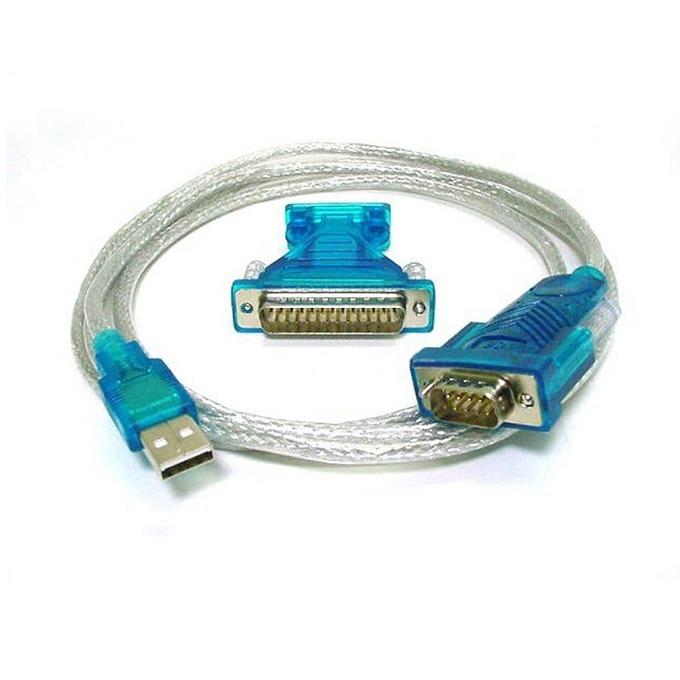 Кабел USB A(м) към Serial RS232(м), DB9 + преходник DB25, 1.5m, бял image