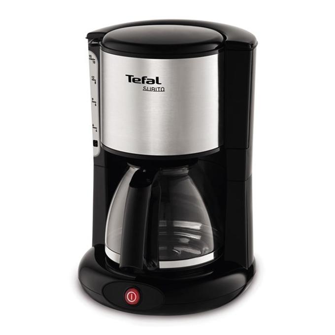Кафемашина Tefal SUBITO 3 CM360812, за филтърно кафе, стъклена кана, таймер, 1000 W, черна/сребрист image