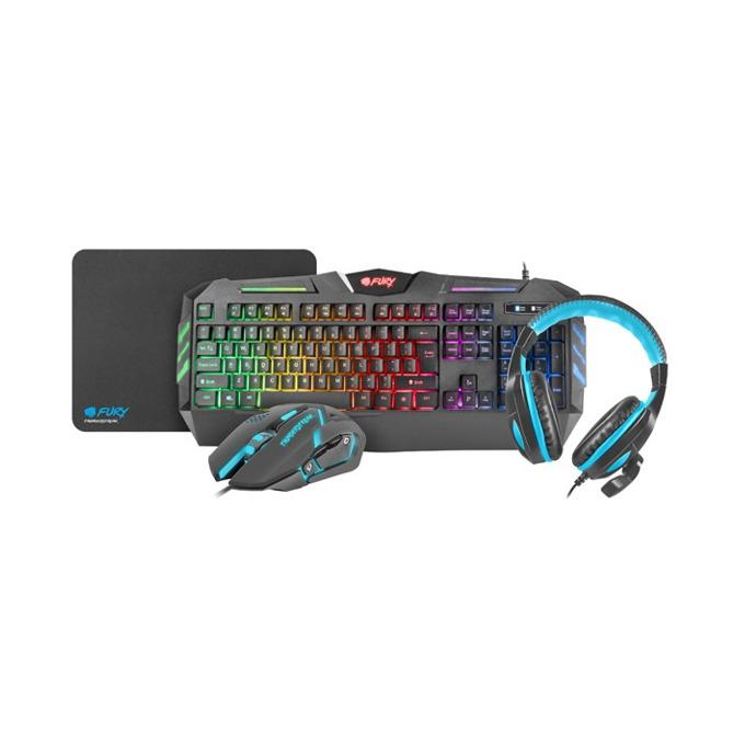Комплект клавиатура/мишка/пад и слушалки Fury Thunderstreak Combo NFU-0938, оптична мишка (2400 dpi), подсветка, микрофон, USB, черни image
