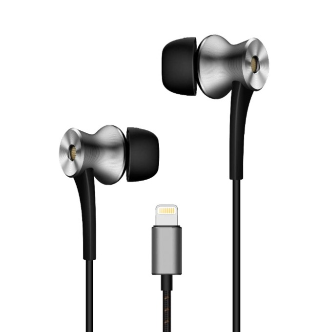 Слушалки 1MORE E1004, микрофон, 1.25 м. дължина на кабела, Lightning(м), сиви image