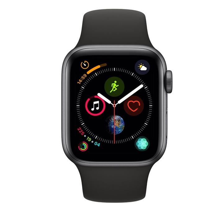 Смарт часовник Apple Watch S4 40mm, OLED дисплей, Bluetooth, водоустойчив, силиконова каишка, черен image