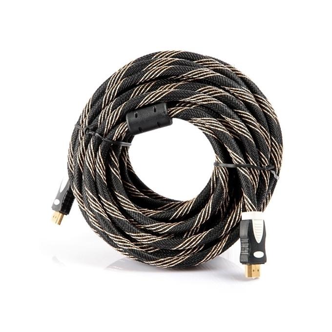 Кабел Digital One SP00040, от HDMI(м) към HDMI(м), 15m, черно-златист, с твърда оплетка и феритен филтър, позлатени конектори image