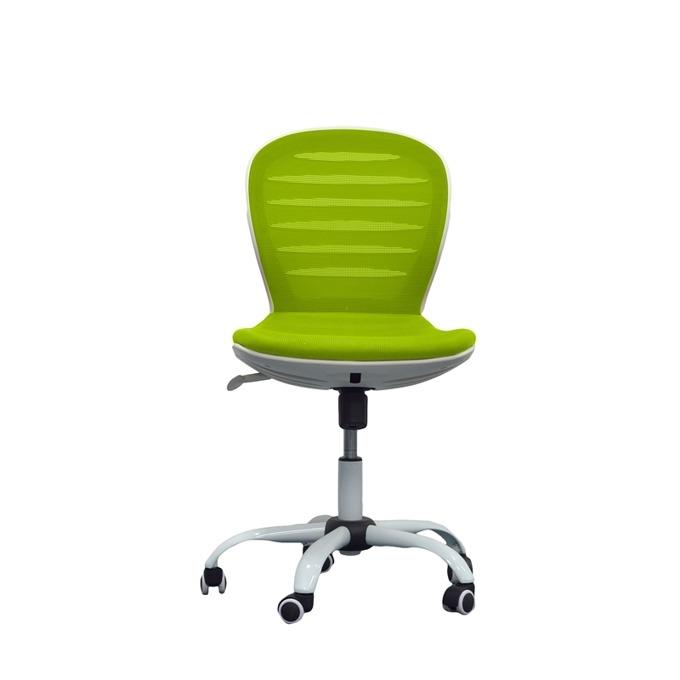 Детски стол RFG Flexy White, дамаска и меш, зелена седалка, зелена облегалка image