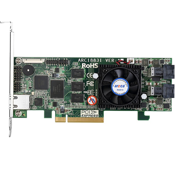 RAID Контролер Areca ARC-1883I, PCIe 3.0 към 2x Mini-SAS SFF-8643, 8 порта SAS/SATA 12Gb/s, 2GB RAM, поддържа RAID level 0, 1, 10(1E), 3, 5, 6, 30, 50, 60, Single Disk or JBOD image