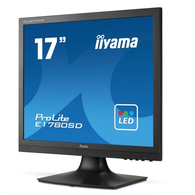 "Монитор Iiyama Prolite E1780SD-B1, 17""(43.18 cm) TN панел, SXGA, 5ms, 12 000 000:1, 250cd/m2, DVI, VGA image"