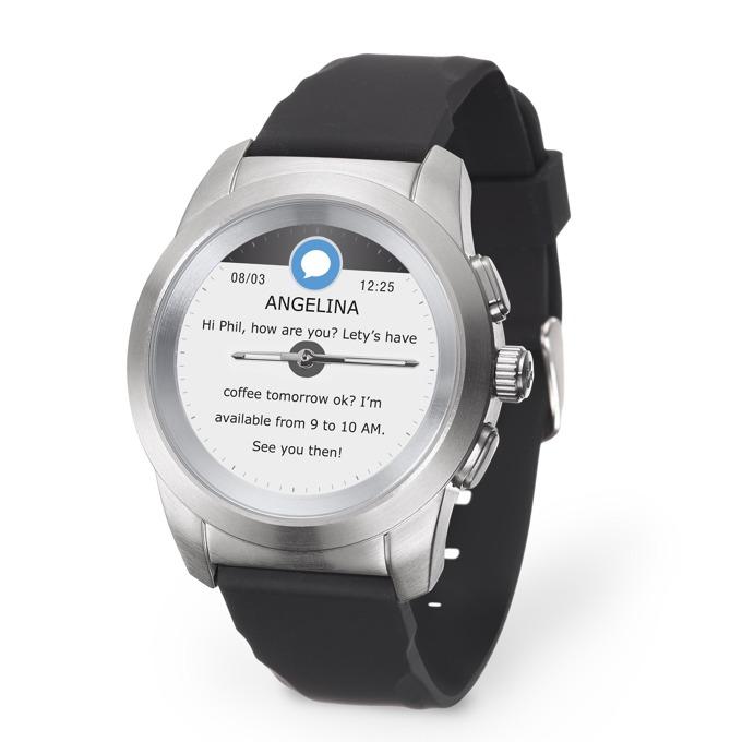 """Хибриден смарт часовник MyKronoz ZeTime Petite, механични стрелки, 1.22"""" (3.09 cm) TFT сензорен дисплей, Bluetooth 4.2, до 3 дни време за работа в режим Smart, водоустойчив, сребрист-черен image"""