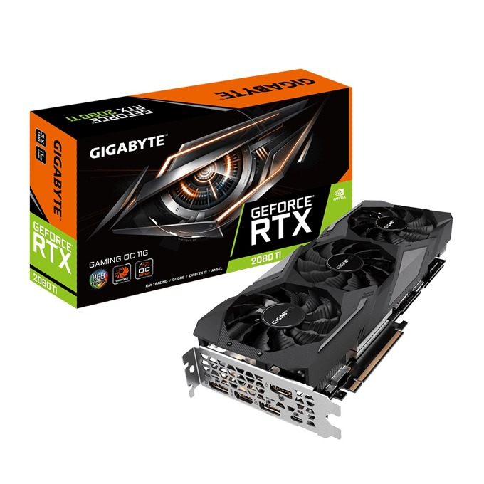 Видео карта Nvidia GeForce RTX 2080 Ti, 11GB, Gigabyte Gaming OC Edition, PCI-E 3.0, GDDR6, 352 bit, 3x DisplayPort, 1x HDMI, 1xUSB Type C, Real Time Ray Tracing технология, RGB Fusion подсветка image
