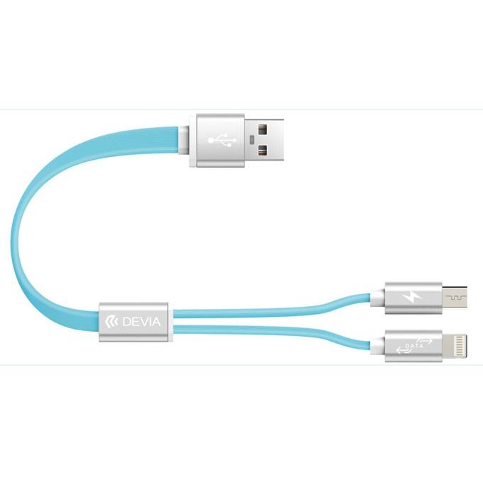 Кабел Devia Magnet 2 in 1, от USB A(м) към Lightning/MicroUSB, 0.2m, син image