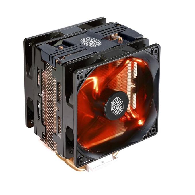 Охлаждане за процесор Cooler Master Hyper 212 LED Turbo, съвместимост с Intel 2066/2011/3/1366/1150/1151/1155/1156/775, AMD AM4/AM3+/AM3/AM2+/FM2/FM2+/FM1, червена LED подсветка, черен image