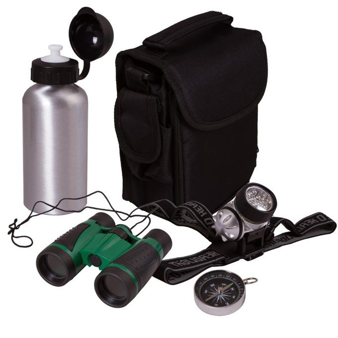 Комплект Bresser Junior Outdoor, бинокъл 4x оптично увеличение, диаметър на лещата 30mm, бутилка за вода, компас и фенерче image