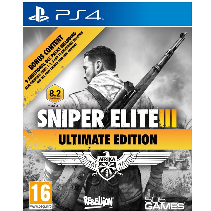 Sniper Elite III Ultimate Edition, DLC пакетите включват : Save Churchill DLC, Six Weapons Pack, Multiplayer Maps, Three Modes; за PS4 image