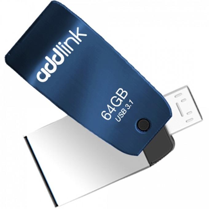 Памет 64 USB Flash Drive, Addlink T55, USB 3.1, синя image