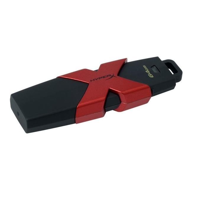 64GB USB Flash Drive, HyperX SAVAGE, USB 3.1, черно/червена image