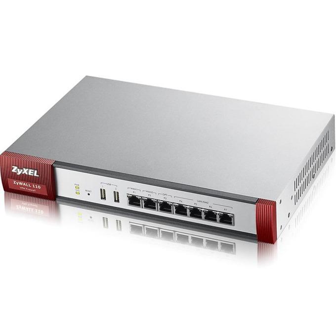Firewall ZyXEL ZyWALL 110, 100x VPN (IPSec/L2TP), 25 SSL, 6x 1Gbps (2x WAN, 4x LAN/DMZ), 1x OPT port, 2x USB port, No UTM image