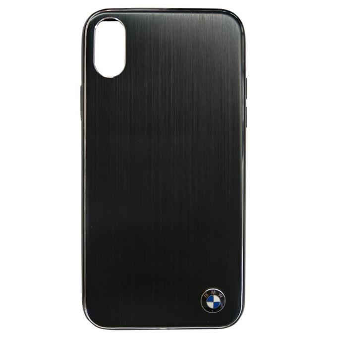 Калъф Apple iPhone X, страничен протектор с гръб, алуминиев и термополиуретанова рамка(TPU), BMW Brushed Aluminium Soft Case, Shock Absorbent, черен image