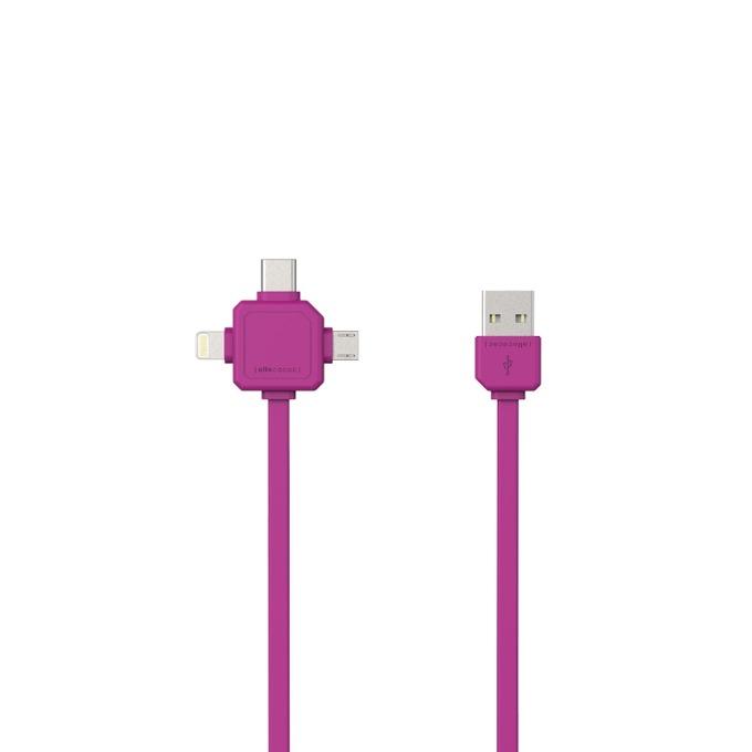 Кабел Allocacoc USB cable 9003PK, от USB(м) към USB type-C(м)/Lightning(м)/Micro USB(м), 1.5m, лилав image