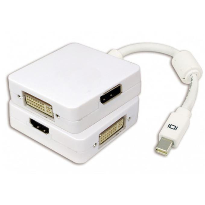 Преходник DeTech, Mini DisplayPort(м) към DVI, HDMI, DisplayPort(ж), бял image