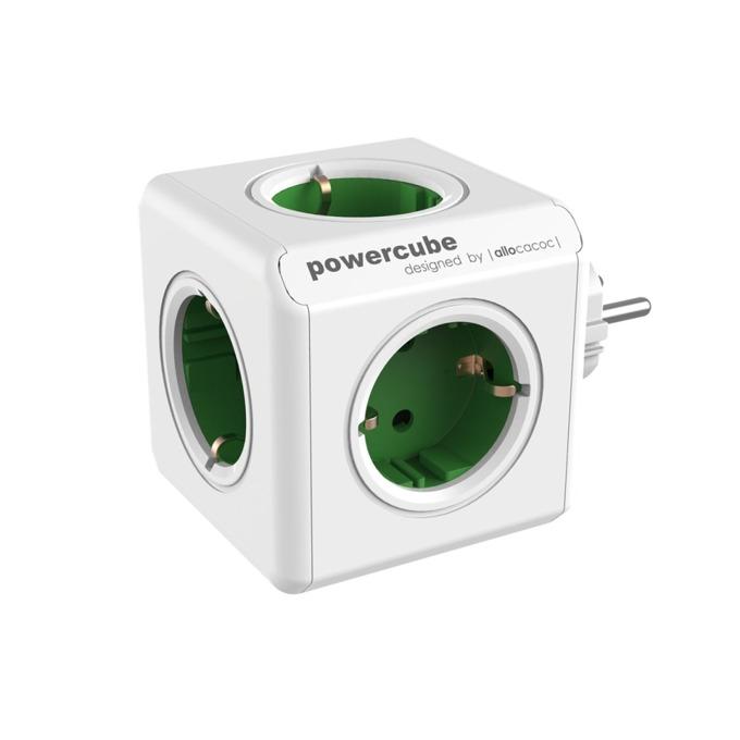 Разклонител Allocacoc Power Cube 1100GN, 5 гнезда, защита от деца, бял/зелен image